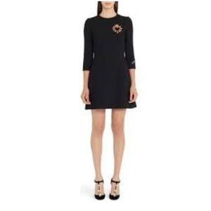 Dolce & Gabbana Crepe and Wool Embroidered Dress
